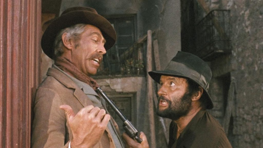 James Coburn as Mallory and Rod Steiger as Juan Miranda in Duck You Sucker
