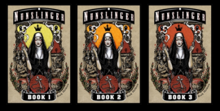 Covers for Nunslinger Books 1-3