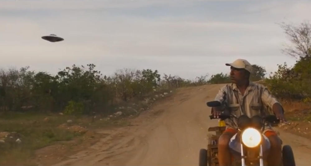 man and drone in western film Bacurau
