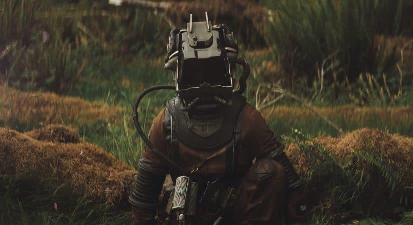 Character in square helmet in Prospect